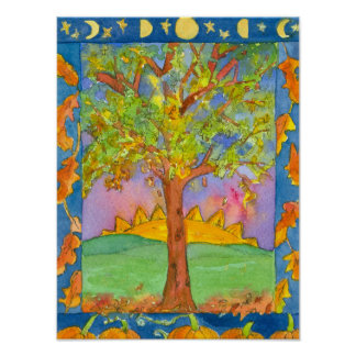 Autumn Sunset Tree Watercolor Landscape Painting Poster