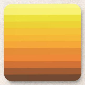 Autumn Sunset Warm Striped Design Coaster