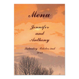 Autumn Sunset Wedding Menu Card