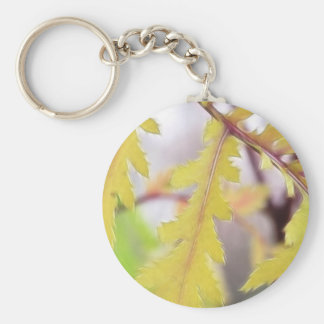 Autumn Tansy Leaves Basic Round Button Keychain