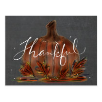 "Autumn ""Thankful"" Pumpkin Postcard"