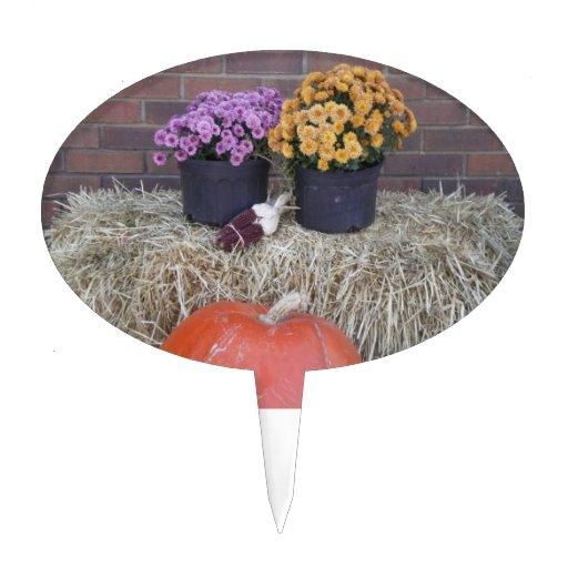 Autumn Thanksgiving Harvest Fall Scene Oval Cake Topper