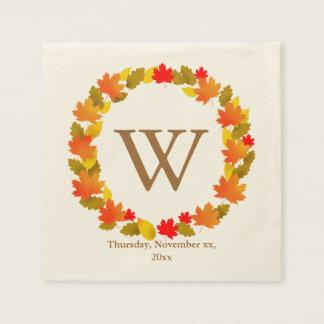 Autumn, Thanksgiving Monogram Napkin