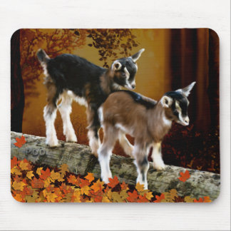 Autumn Theme Baby Goats Mouse Pad
