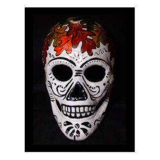 Autumn Theme Day of the Dead Mask Postcard