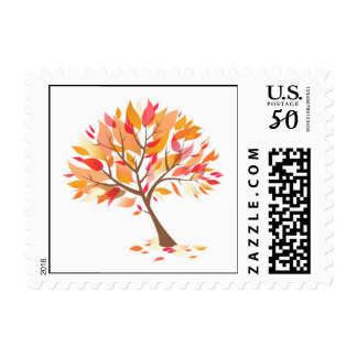 Autumn Theme Tree Beautiful Small Postage