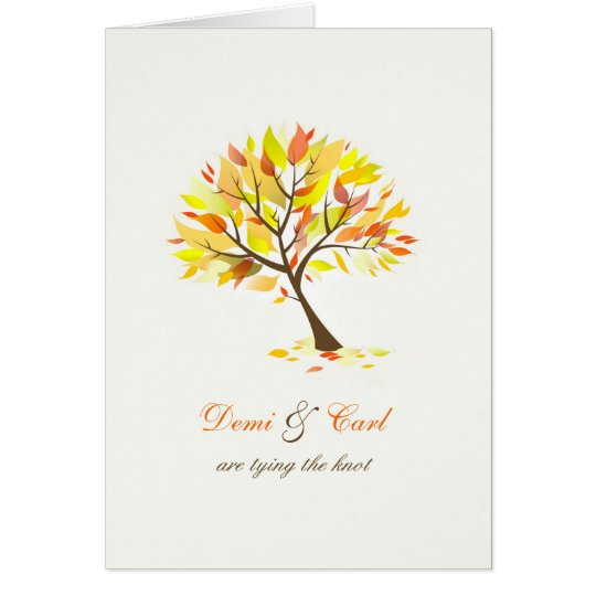 Autumn Theme Tree Folded Wedding Invitation