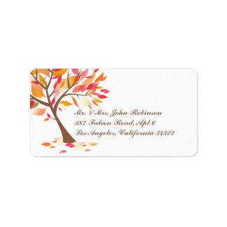 Autumn Theme Tree Shipping Labels