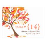 Autumn Theme Wedding Table Number Seats Cards Postcard
