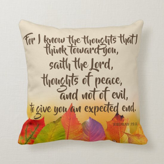 Autumn Theme with Bible Verse Throw Pillow