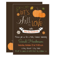 Autumn Themed Fall In Love Baby Shower Invite