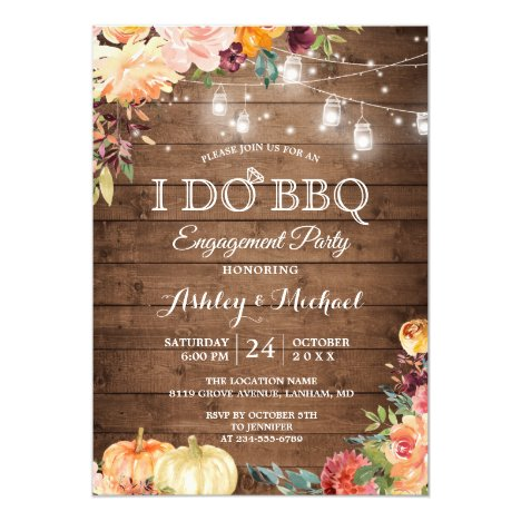 Autumn Themed I DO BBQ Engagement Party Invitation