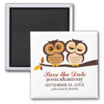 Autumn Themed Owls Wedding 2 Inch Square Magnet