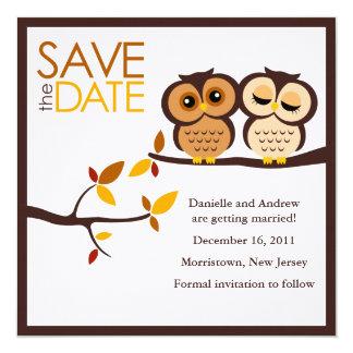 Autumn Themed Owls Wedding Card