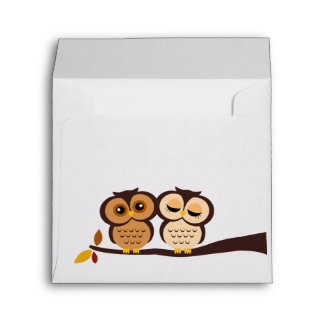 Autumn Themed Owls Wedding Envelope