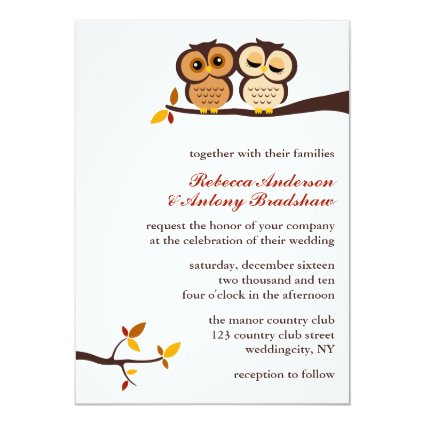 Autumn Themed Owls Wedding 5x7 Paper Invitation Card