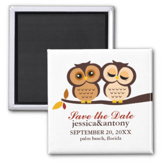 Autumn Themed Owls Wedding Magnet