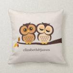 Autumn Themed Owls Wedding Pillows