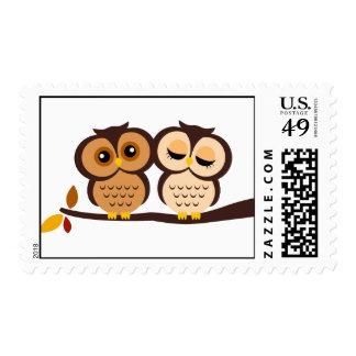 Autumn Themed Owls Wedding Postage