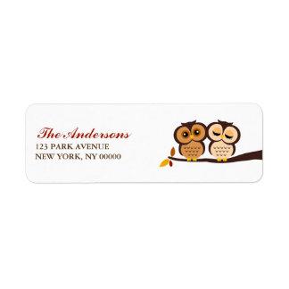 Autumn Themed Owls Wedding Return Address Label