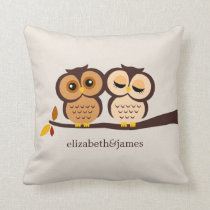 Autumn Themed Owls Wedding Throw Pillow