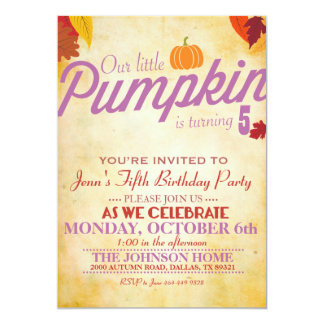 Autumn Themed Party Invitation for Girls
