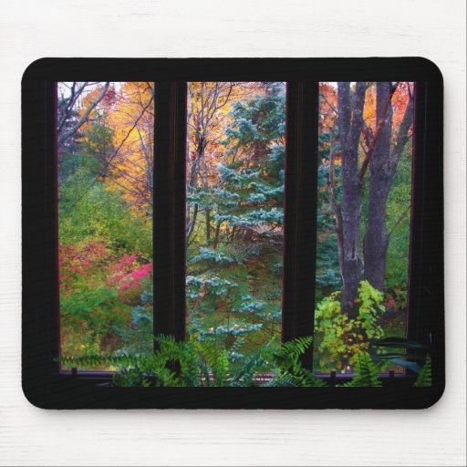 Autumn through the Window Mouse Pads