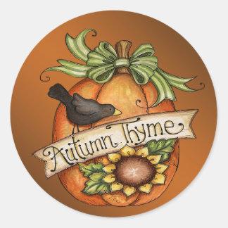Autumn thyme classic round sticker