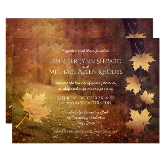 autumn trail falling maple leaves rustic wedding invitation
