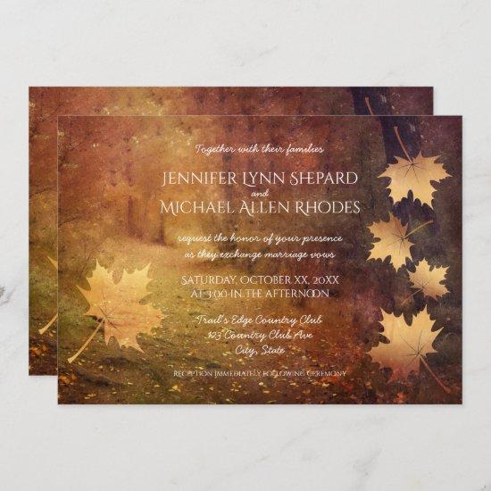 autumn trail falling maple leaves rustic wedding invitation