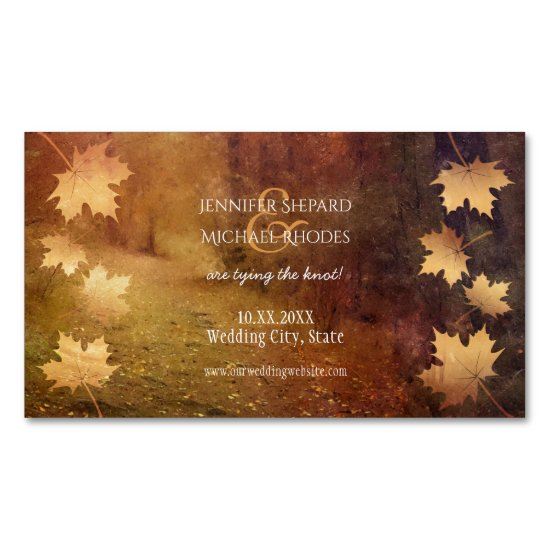 autumn trail falling maple leaves rustic wedding magnetic business card