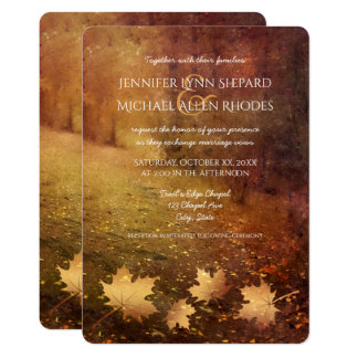 autumn trail maple leaves rustic wedding card