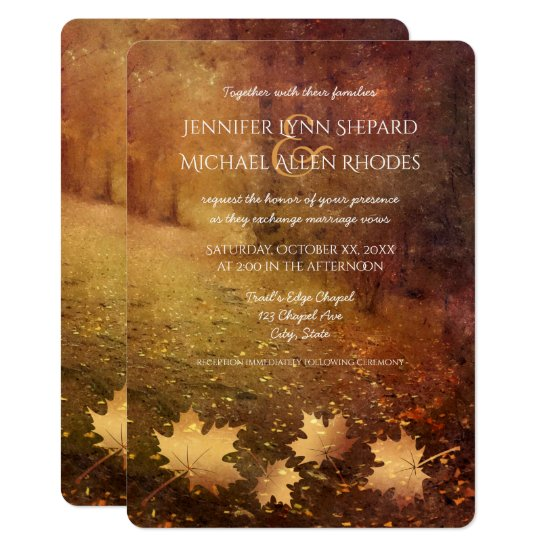 autumn trail maple leaves rustic wedding invitation