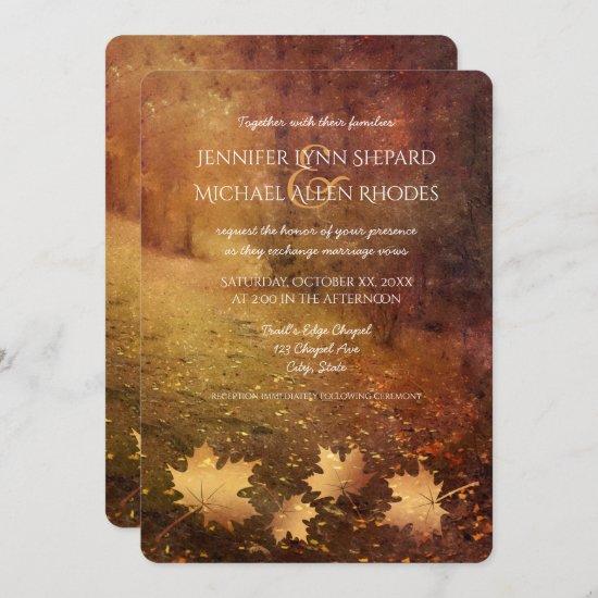 autumn trail maple leaves rustic wedding invitation