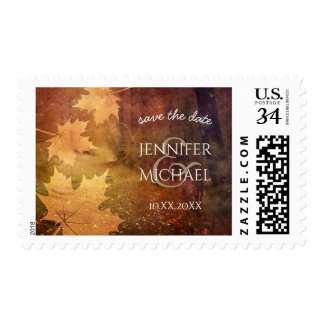 autumn trail maple leaves rustic wedding postage
