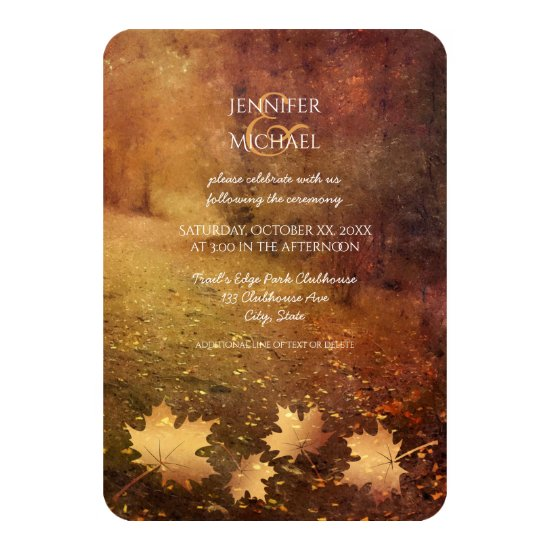autumn trail maple leaves rustic wedding reception invitation