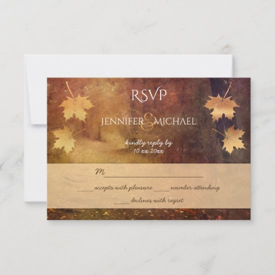 autumn trail maple leaves rustic wedding rsvp