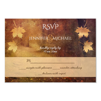 autumn trail maple leaves rustic wedding rsvp card