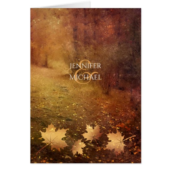 autumn trail maple leaves rustic wedding thank you