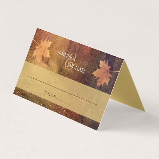 autumn trail maple leaves wedding guest table