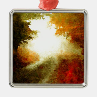 Autumn Trail Square Metal Christmas Ornament