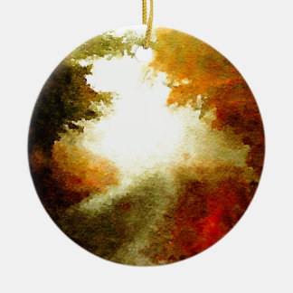 Autumn Trail Double-Sided Ceramic Round Christmas Ornament