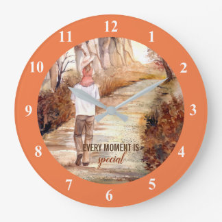 Autumn Trail Watercolor Painting Large Clock