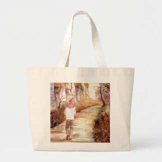 Autumn Trail Watercolor Painting Large Tote Bag