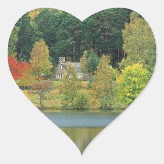 Autumn Tranquil Waters Loch Of Eileen Scotland Heart Sticker