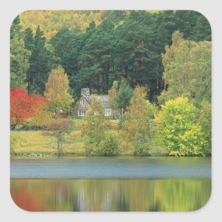 Autumn Tranquil Waters Loch Of Eileen Scotland Square Sticker