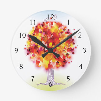 Autumn Tree And Cute Birds In Love Round Clock