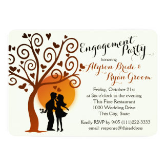 Autumn Tree and Engagement Couple Silhouette Card
