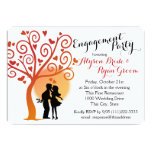 Autumn Tree and Engagement Couple Silhouette Invitations