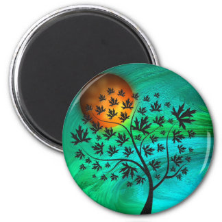 Autumn Tree and Harvest Moon 2 Inch Round Magnet